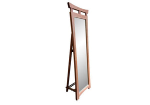 Waterfall Cheval Floor Mirror shows self-standing, Asian-influenced, full-length, hardwood, furniture w/ adjustable back leg