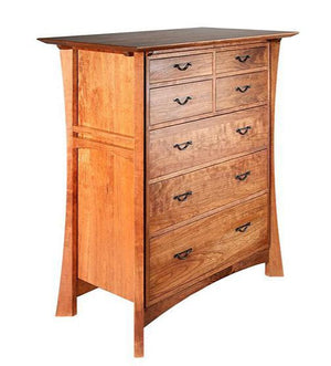 Waterfall Empress Chest in Curly Maple features quality bedroom furniture dresser made to order by Hardwood Artisans near DC