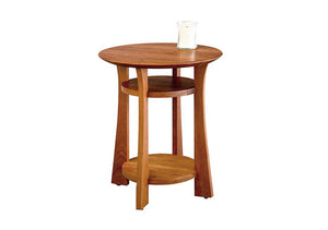 Round Waterfall End Table in Aged Natural Cherry, Hardwood Artisans