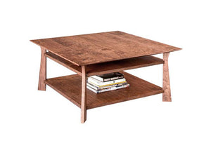Square Waterfall Coffee Table in Cherry w/ Mahogany Wash, Hardwood Artisans