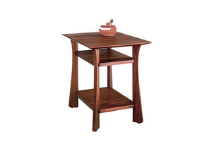 Waterfall End Table, square shape in mahogany wood w/ lower shelves, accents living room furniture spaces near Loudoun County