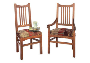Highland Chair shown in an Arm and Side Chairs in 1/4-sawn White Oak w/ English Stain and upholstery seats near Arlington
