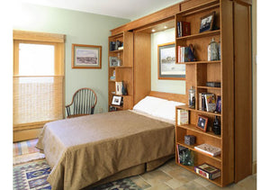 Library Wall Bed slides opens in middle, solid wood bedroom furniture is Hand Made in Virginia near Washington DC, & Maryland