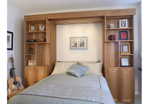 Library Wall Bed bedroom furniture cabinet comes with built-in reading lights, is made by Hardwood Artisans - shown closed