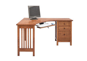 Craftsman Little Corner Desk w/ 1 file drawer & 2 drawers is compact size & finished on all sides for offices in small spaces