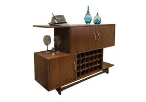 Mid Century Wine Cabinet was designed for function w/ wooden wine glass racks, pull-out drawers, and wine rack storage below
