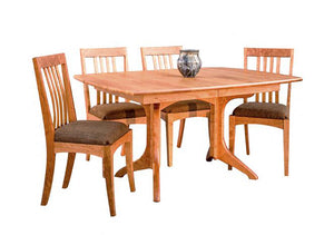 Middleburg Table/extension table shown with Middleburg Chairs in Natural Cherry, a fine Dining furniture by Hardwood Artisans