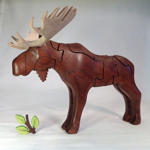 Chapman Puzzle Moose in Mahogany and walnut made in USA at Hardwood Artisans in Charlottesville, Virginia