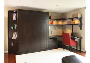 Panel Wall Bed bedroom furniture cabinet comes with built-in reading lights, is made by Hardwood Artisans - shown closed