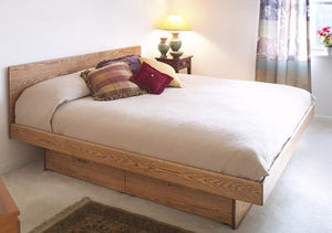 Platform Pedestal bed with Basic Headboard in Red Oak, Hardwood Artisans