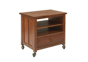 Printer Cart shown in 1/4-sawn White Oak w/ English Stain, a mobile printer stand, furniture for office, den or small areas