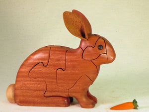 Chapman Puzzle Rabbit in Mahogany made in USA at Hardwood Artisans in Elkwood, Virginia