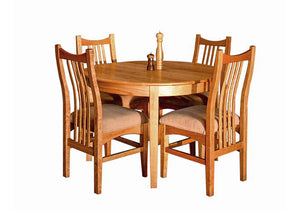 Round 4-leg Table and Artisan Chairs in Natural Cherry, Hardwood Artisans