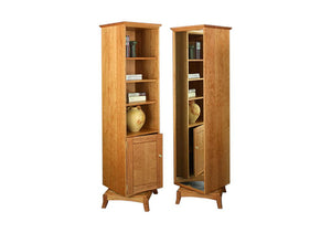 Sartia Swivel Bookcase in Natural Cherry with mirror shows an American made multi-functional furniture for small spaces