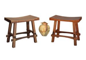 Shinto Benches in and Mahogany and Walnut with Custom Maple Wedges, Hardwood Artisans