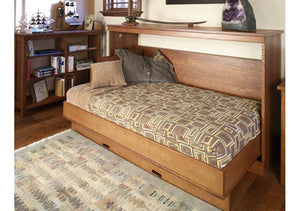 Side Panel Wall Bed opens from the side, solid wooden bedroom furniture, in Virginia near Washington DC, Maryland, Shown open