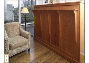 Side Panel Wall Bed available in red oak, birch, maple, cherry, mahogany, curly maple, or 1/4 sawn white oak hardwood in VA