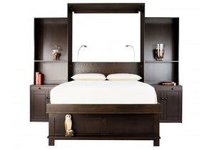 Sofa Wall Bed bedroom furniture unit includes nightstands, cabinet-bookcases, loveseat and cushions - Pull-Out Bed Displayed