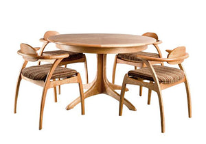 Walden Small Round Table shown with Linnaea Chairs and Upholstered Seats customized hardwood dining furniture Made in America
