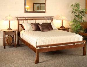Waterfall Bed in Walnut shows custom hardwood bedroom furniture Made in the USA by Hardwood Artisans for Herndon, Virginia