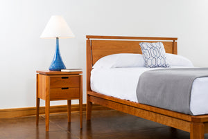 Susan Bed with Susan Nightstand classic hardwood bedroom furniture made by Hardwood Artisans in the Springfield Virginia area