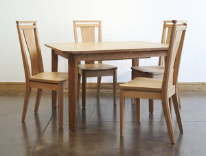 Susan Dining Chair shown with Table for your room or as a unique gift, handcrafted and made in Virginia in assorted hardwoods