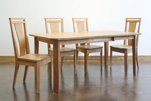 Susan Dining Chair shown with Table quality made-to-last dining furniture handmade by Hardwood Artisans in the Metro DC area