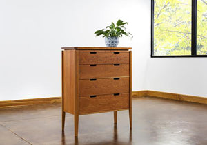 Susan 4-Drawer Chest Dresser is available in assorted hardwood bedroom furniture made for small spaces by Hardwood Artisans