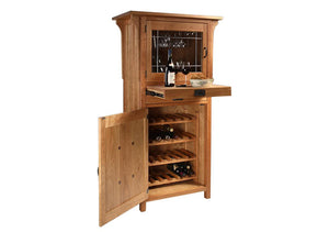 Craftsman Wine Cabinet w/ hand-assembled handles, leaded art glass, stemware racks, pull-out shelf, & wine storage cabinet