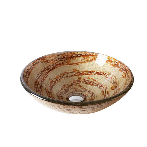 Arsumo Whirlpool Circular Glass Vessel Bathroom Sink LX09-149
