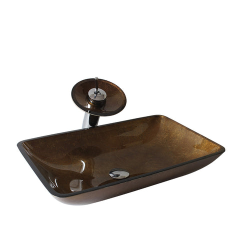 Arsumo Rectangular Brown Glass Vessel Bathroom Sink BWY15-037-2