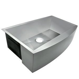 Arsumo KSAF30S Handcrafted Apron Front Farmhouse Single Bowl Kitchen Sink,Stainless Steel, 30'', 16 Gauge