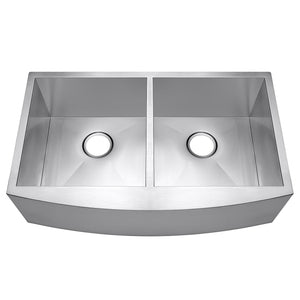 "Arsumo KSAF33D Handcrafted Apron Front Farmhouse Double Bowl 60/40 Kitchen Sink, 33"",16 Gauge, Stainless Steel"