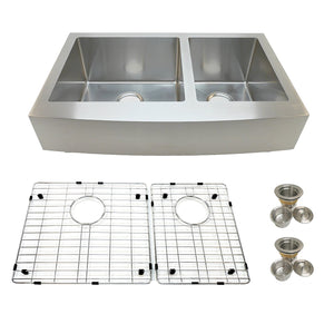 Arsumo KSAP36D Handcrafted Apron Front Farmhouse Double Bowl 60/40 Kitchen Sink, 36'', 16 Gauge, Stainless Steel