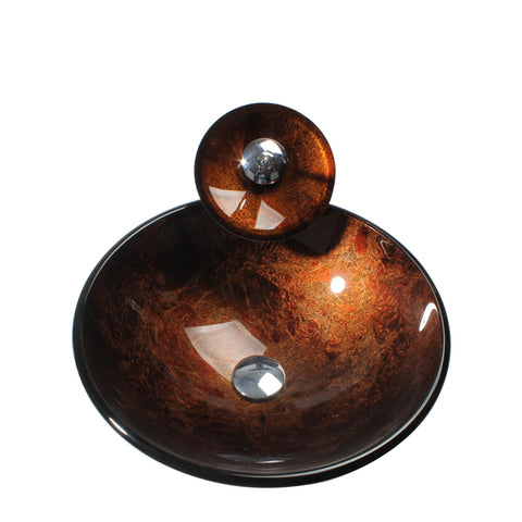 Arsumo Red Brown Circular Glass Vessel Bathroom Sink BWY09-021
