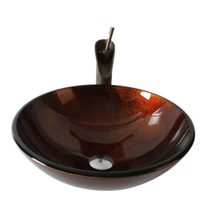 Arsumo Forest Sunset Circular Glass Vessel Bathroom Sink BWY10-129