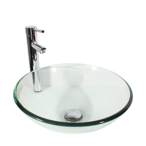 Arsumo Classic Clear Circular Glass Vessel Bathroom Sink BWY09-179