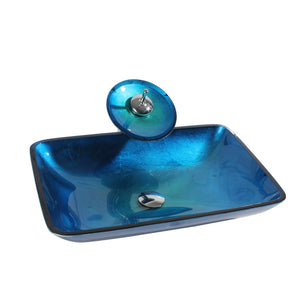 Arsumo Rectangular Blue Glass Vessel Bathroom Sink BW10-158