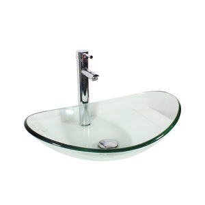 Arsumo Clear Oval Glass Vessel Bathroom Sink BWY09-166