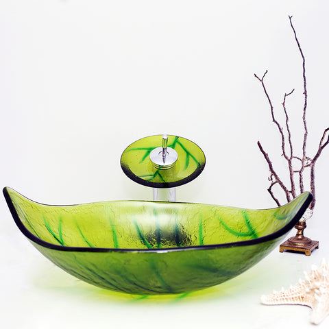 Arsumo Green Leaf Oval Glass Vessel Bathroom Sink BWY140186