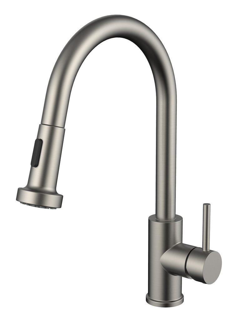 Kitchen Faucet 7857, Modern Design, PVD, Lead Free, Brass Core, Ceramic Catridge and Stainless Steel Body