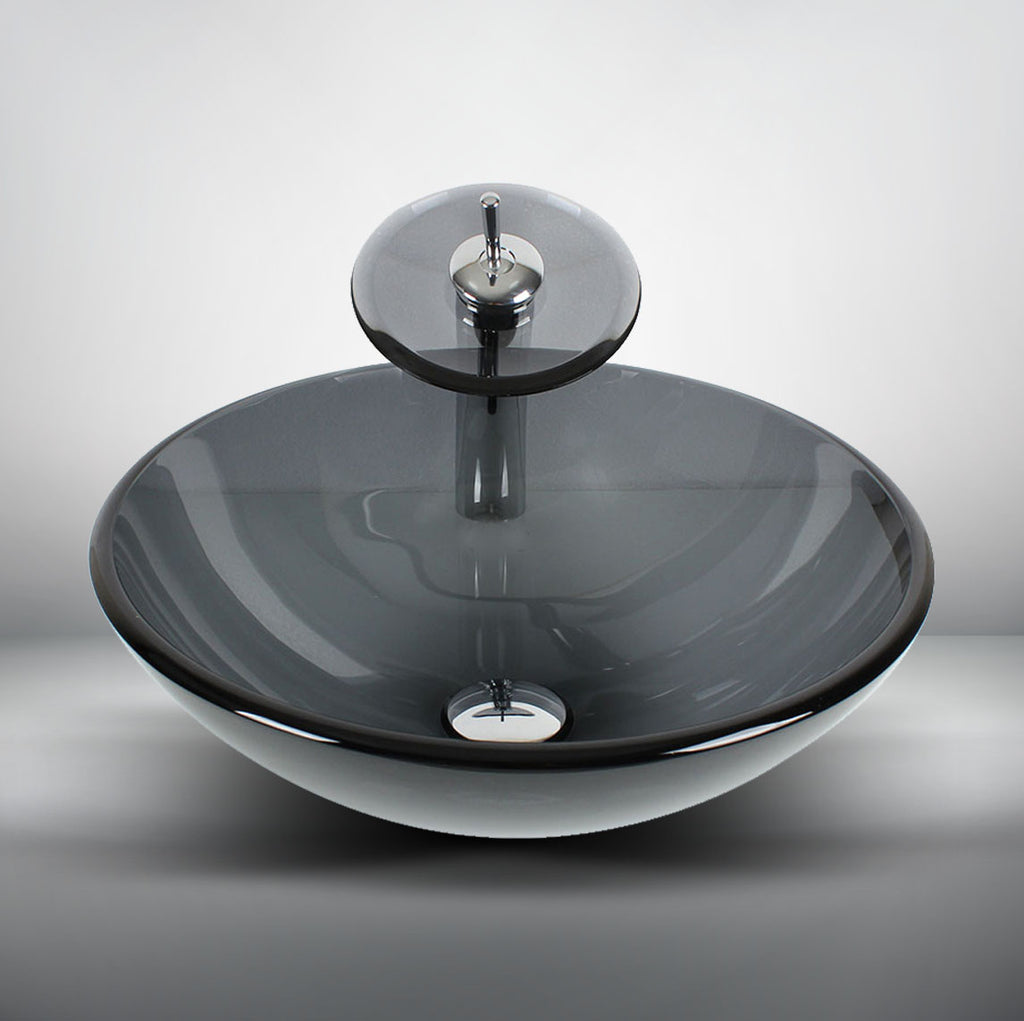 Arsumo Gray Navy Clear Circular Glass Vessel Bathroom Sink LX09-174