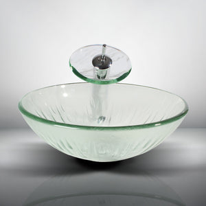 Arsumo Clear Patterned Circular Glass Vessel Bathroom Sink BWY009-076