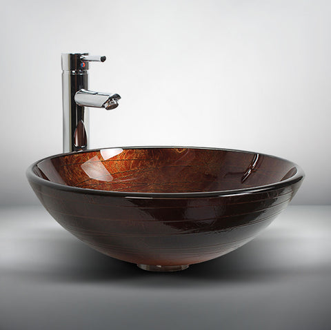 Arsumo Golden Brown Circular Glass Vessel Bathroom Sink BWY15-020