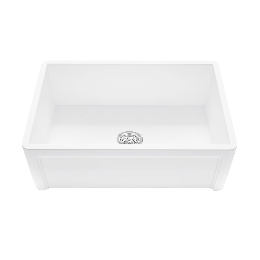 Arsumo KSAFMS01 Apron Front Farmhouse Single Bowl Kitchen Sink, 33'',Matte White