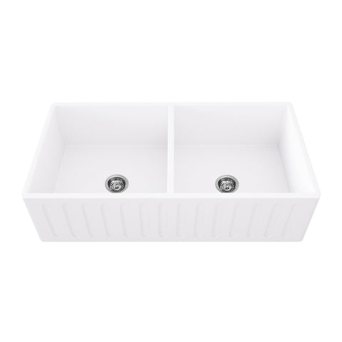 Arsumo KSAFMS33D Apron Front Farmhouse Matte Stone Double Bowl Kitchen Sink, 33'',Matte White