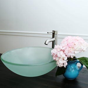 10-124 B Arsumo Frosted Circular Glass Vessel Sink Combo (with Brushed Nickel Faucet, Pop-up Drain and Mount Ring)