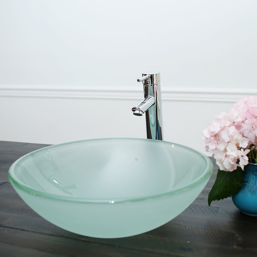 10-12- A Arsumo Frosted Circular Glass Vessel Sink Combo (with Chrome Faucet, Pop-up Drain and Mount Ring)