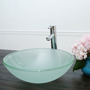 10-124- A Arsumo Frosted Circular Glass Vessel Sink Combo (with Chrome Faucet, Pop-up Drain and Mount Ring)