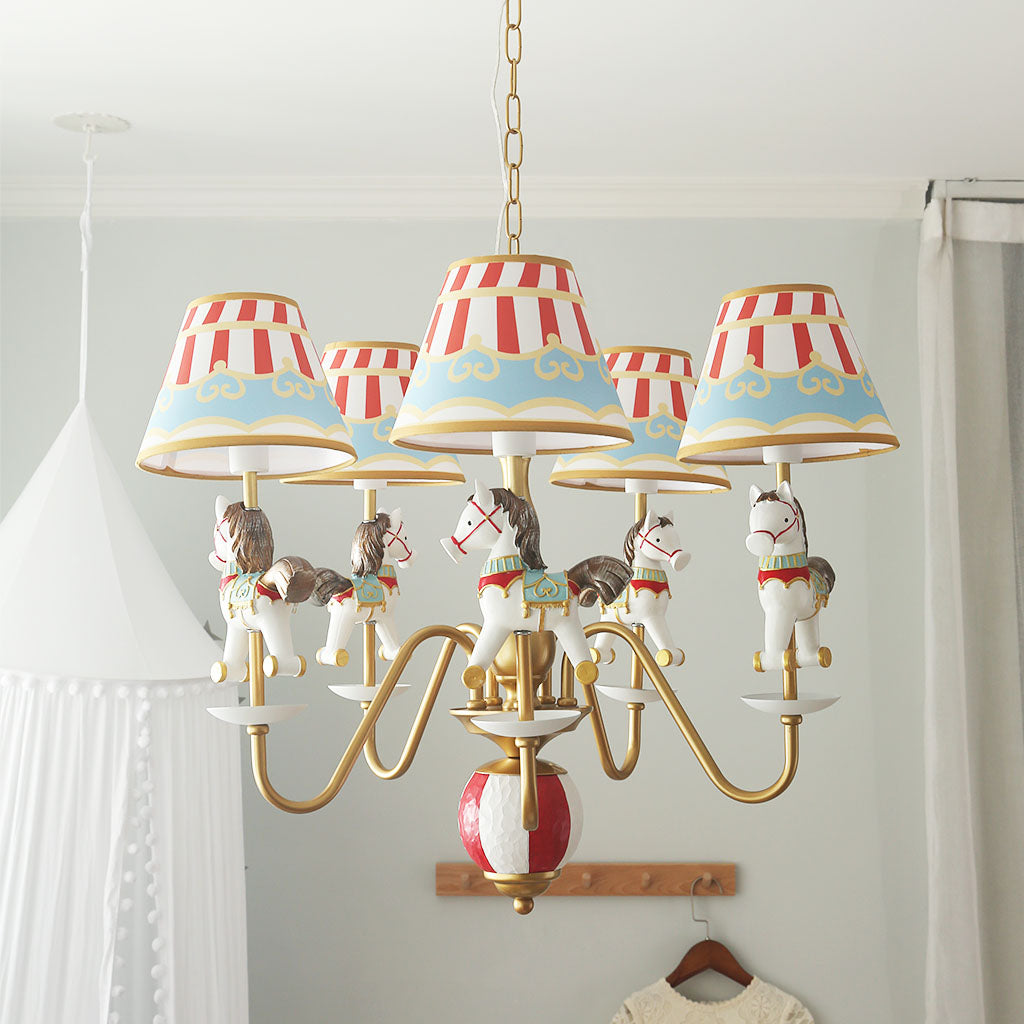 S033Y Imagination! Carousel Horse 6-light Chandelier for Kids room